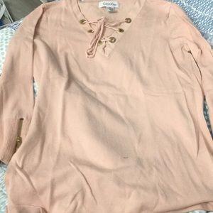 Pink Calvin Klein Quarter Sleeve Sweater